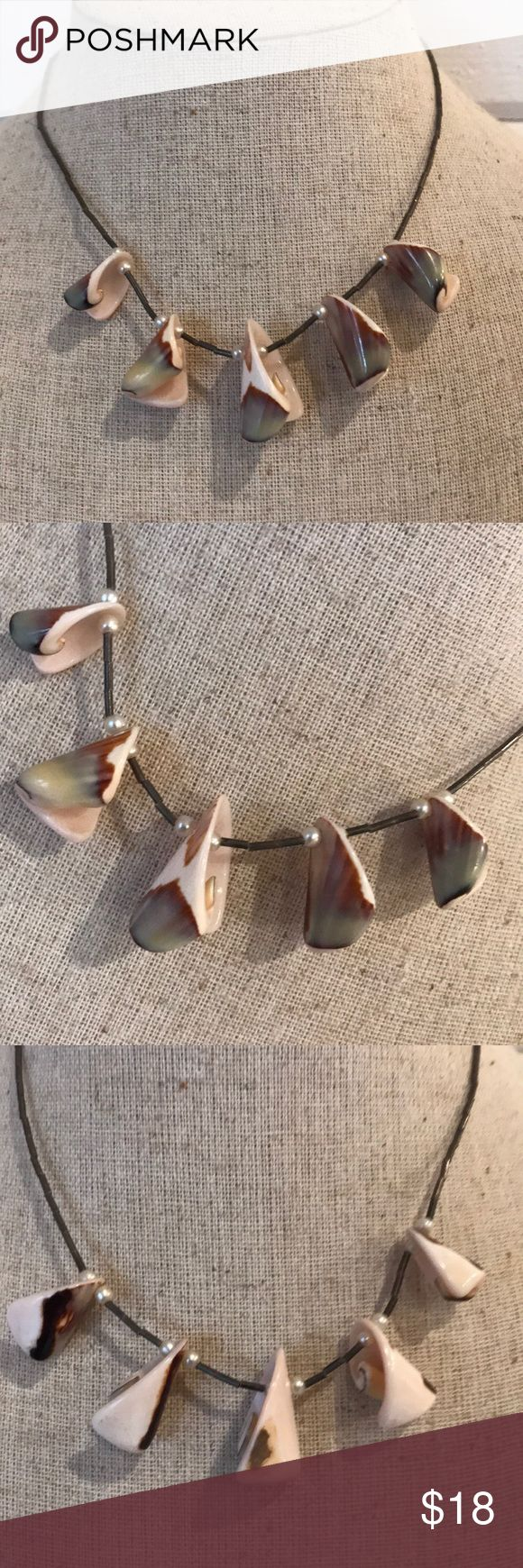 """Sea Shell Necklace - on silver with tiny pearls Never worn!  Very sweet!  Secure twist closure.  14.75"""" long. Jewelry Necklaces"""