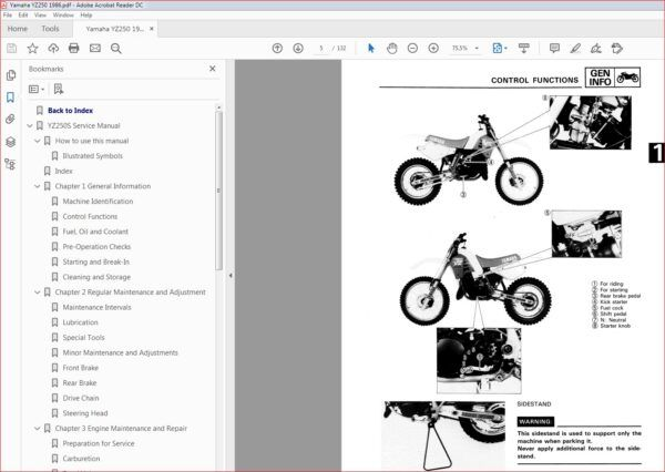 Yamaha Yz250 Yz 250 1986 86 Service Repair Workshop Manual Manual Pdf Download Workshop