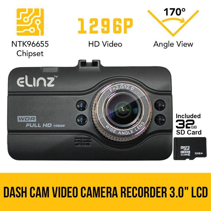Dash Cam DVR Car Video Camera Recorder FHD 170° Night Vision Crash 1296P 3.0 LCD