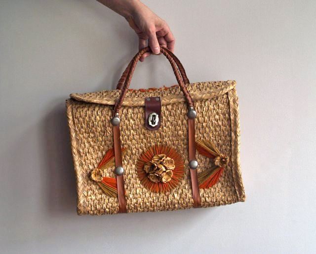 Vintage Straw Buckle Front Tote Bag, Mexico Straw Bag ...