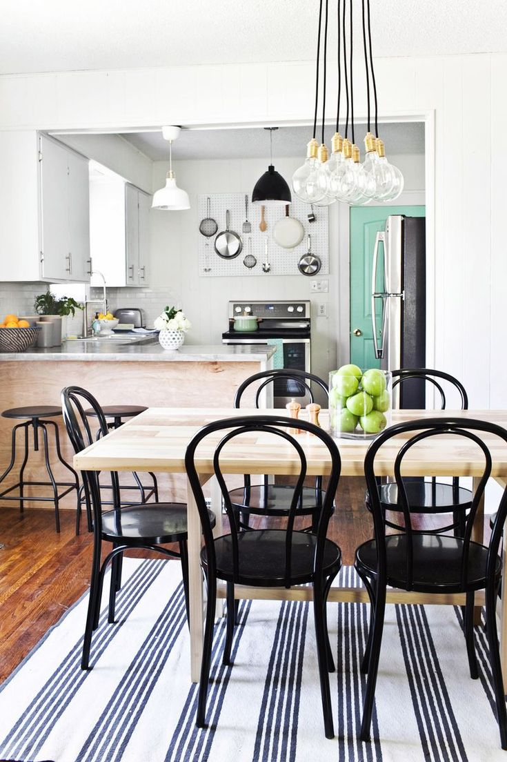 Dining room decor. Obsessed with that Schoolhouse Electric chandelier!