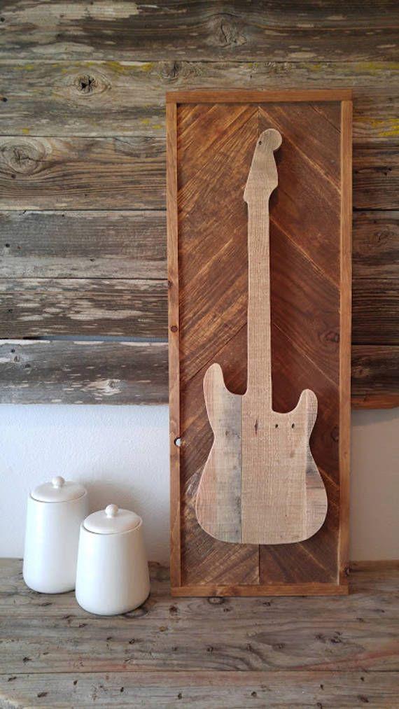 Guitarra eléctrica  Madera rústica  Decoración de pared