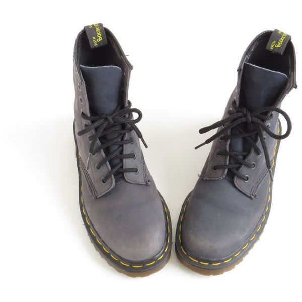 Dr Martens Boot Soft Grunge Doc Martens Aesthetic Shoe Doc Martins... (£140) ❤ liked on Polyvore featuring shoes, boots, ankle booties, gray suede booties, gray booties, combat boots, ankle boots and grey combat boots