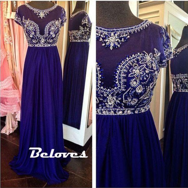 Prom Dress, Blue Dress, Royal Blue Dress, Chiffon Dress, Blue Prom Dress, Beaded Dress, Royal Blue Prom Dress, Dress With Sleeves, Prom Dress With Sleeves, Dress Prom, Blue Chiffon Dress, Dress Blue, Bodice Dress