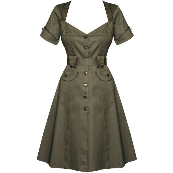 Jaw Breaker New Khaki Green Military Ww2 Army 1940S Vintage Fancy... ($42) ❤ liked on Polyvore featuring dresses, military style dress, army dress, fancy dresses, vintage day dress and vintage dresses