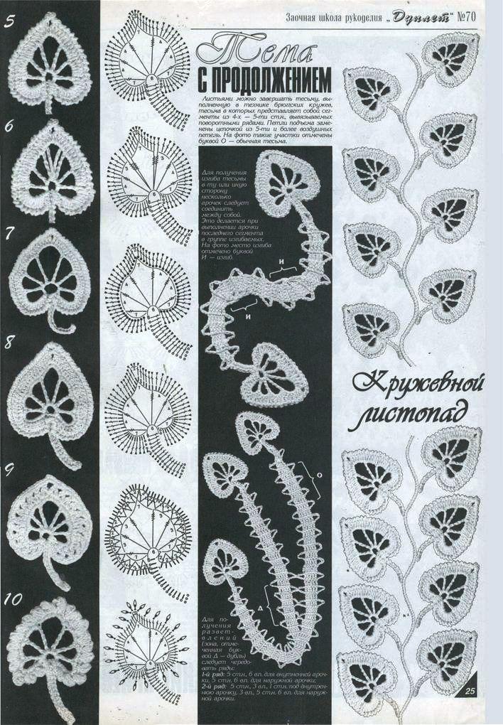 Patrones de hojas a crochet