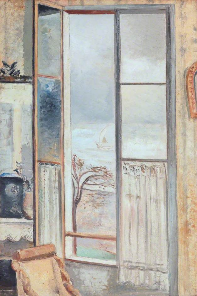 Paul Nash (British, 1889–1946) - Riviera Window, Cros-de-Cagnes (1926)