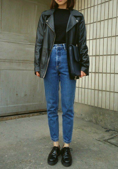 No. 16 || Waved denim: black shoes, blue high waisted jeans, black blouse, black handbag and leather over-sized jacket //Pinterest & Tumblr: aloraphernelia//