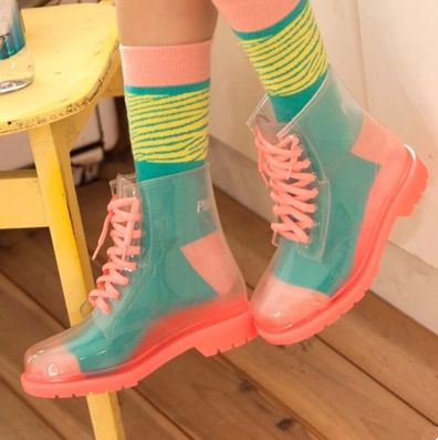 Fashion sweet transparent candy color rain boots