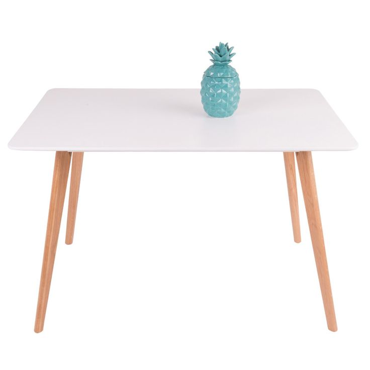 Kote Dining Table - 18mm MDF Wood Top with Matte Gloss Finish & Oak Wood Legs - Scandinavian Style Furniture for Home or Office - 120cm x 80cm - White $279.95