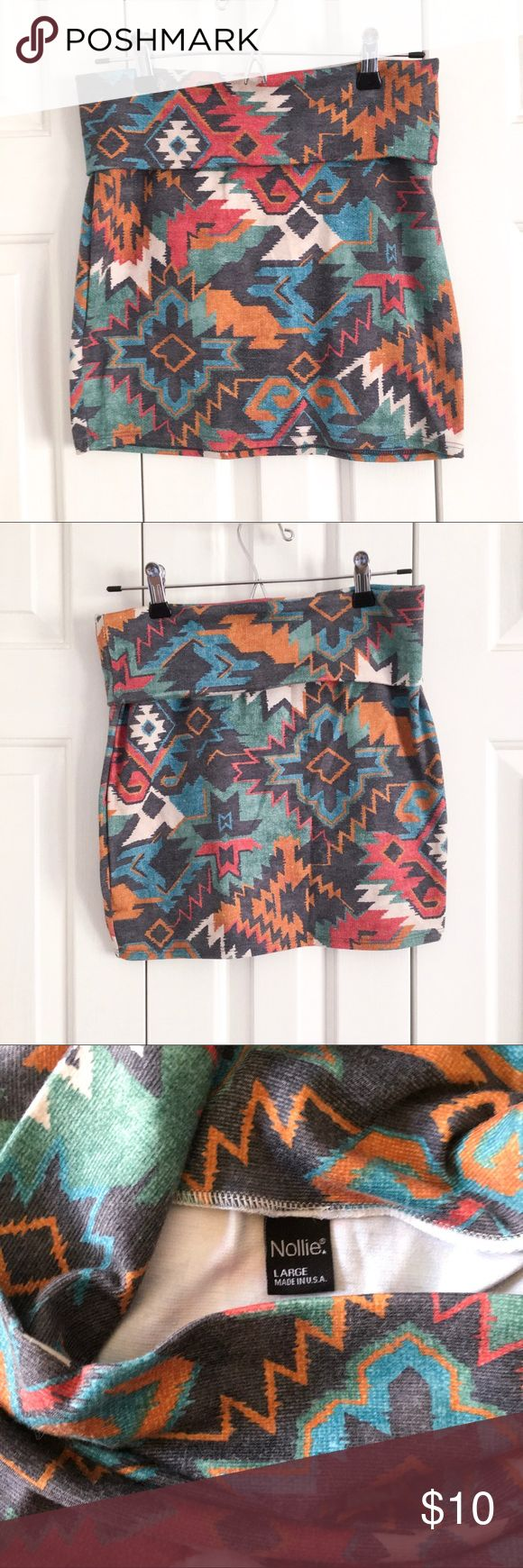 ✨B2G1Free✨ Soft Aztec Body-Con Mini Skirt Fun Aztec print body-con mini skirt made of a thicker, stretchy, very soft fabric. Adjustable top fold over, wear short or higher waisted. Excellent condition! Included in ✨B2G1Free✨ closet-wide sale! Nollie Skirts Mini