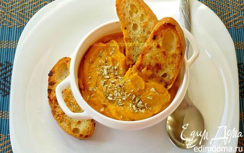 Тыквенный суп-пюре с чесночными гренками   Кулинарные рецепты от «Едим дома!»