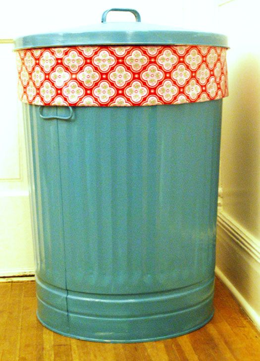 "painted trash can with a laminate fabric ""scrunchie"" around it to hold/hide the bag in place~read more at rebekahmerkle.blogspot.com"