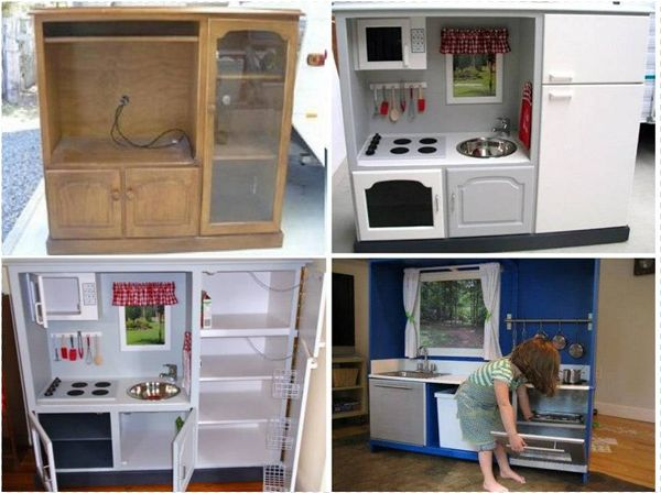 Diy turning old tv cabinet into play kitchen save for Diy play kitchen ideas