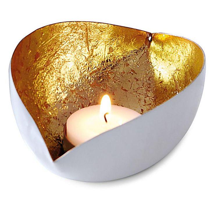 Teelichthalter Ellipse, weiß/gold