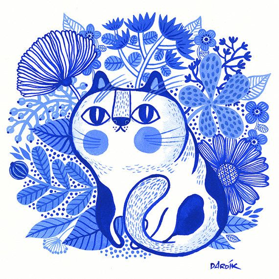 Fat Cat Blues... - limited edition giclee print of an original watercolor illustration (8 x 8 in)