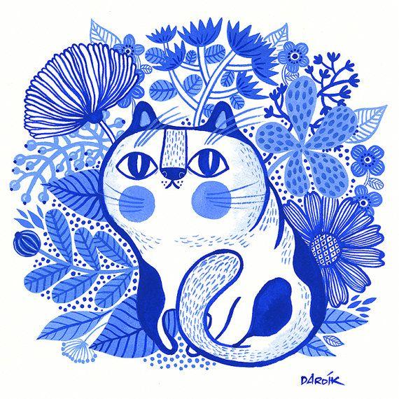 Gato gordo Blues... limitado impresión de giclee de la edición
