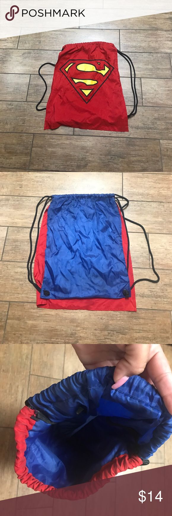 Superman Drawstring backpack Cute superman drawstring backpack. I used it for a Halloween costume one year. Bags Backpacks