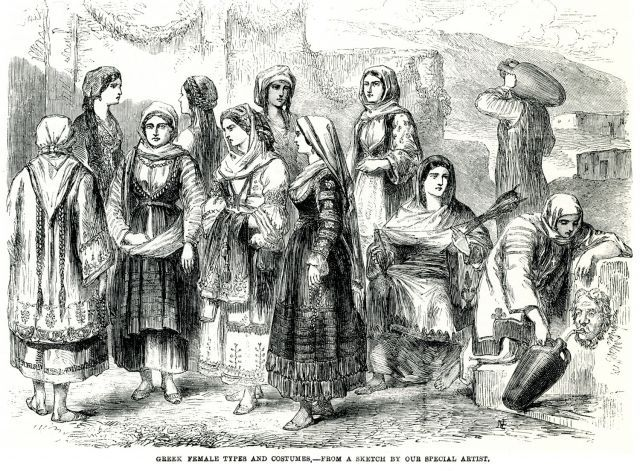 Greek women from all over Greece in traditional costume, 1863.