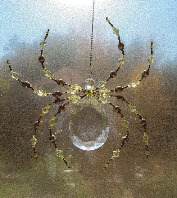 Beaded Vintage Crystal Spider - Impressive Spider Sculpture -Green Dark harbor Sun Catcher