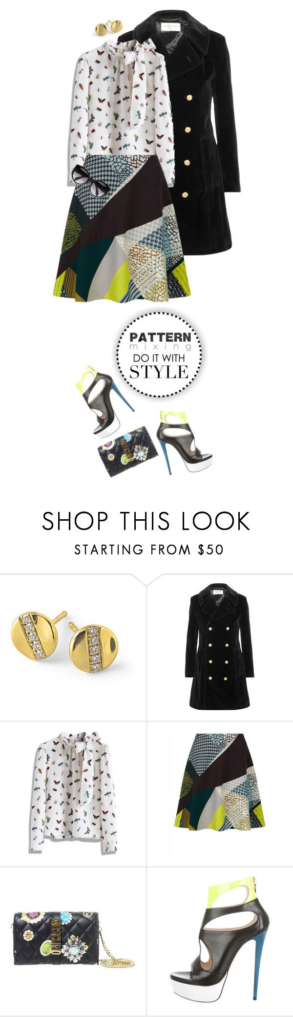 """Head-to-Toe Pattern Mixing"" by shortyluv718 ❤ liked on Polyvore featuring Ippolita, Yves Saint Laurent, Chicwish, Jaeger, Moschino, Ruthie Davis, Alexander McQueen and patternmixing"