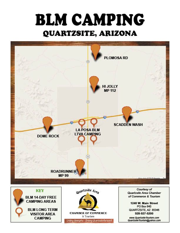 Where to camp in Quartzsite? BLM Map has 14 day FREE Camping & LTVA on