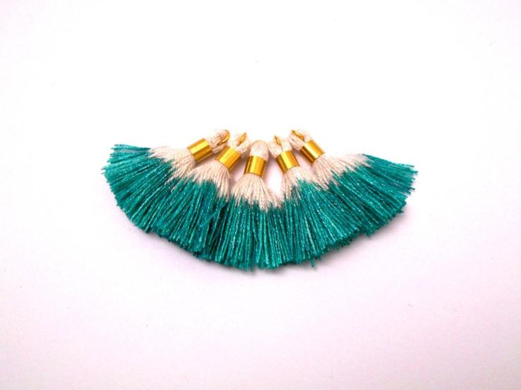 S/S 2016 NEW Mini SPARKLE Tassels, Ombre Tassel, Cotton tassel with brass ring, Hand Dyed tassel, Emerald color, Sparkle, 5 pcs by Minicraftbox on Etsy