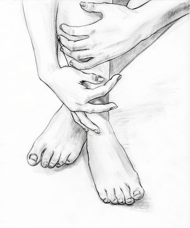 pencil drawings | Pencil drawing of hands and feet.