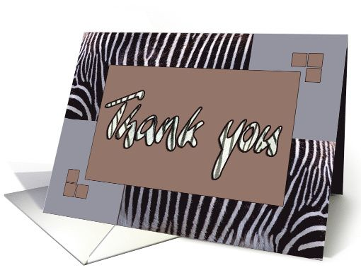 Zebra print Thank you card savannah brown - blank note card - by Steppeland