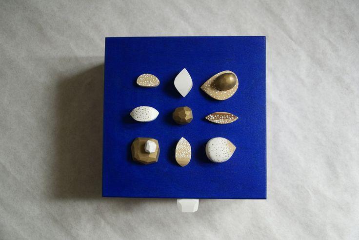 Szkatułka - błękit, złoto i biel w SZLIFY na DaWanda.com