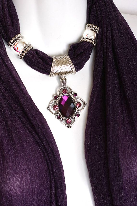 Pendant Scarf Necklace Scarves Rich Purple by RavensNestScarfJewel, $25.00