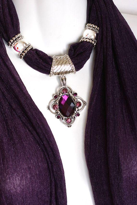 Pendant Scarf Necklace Scarves Rich Purple by RavensNestScarfJewel, $25.00