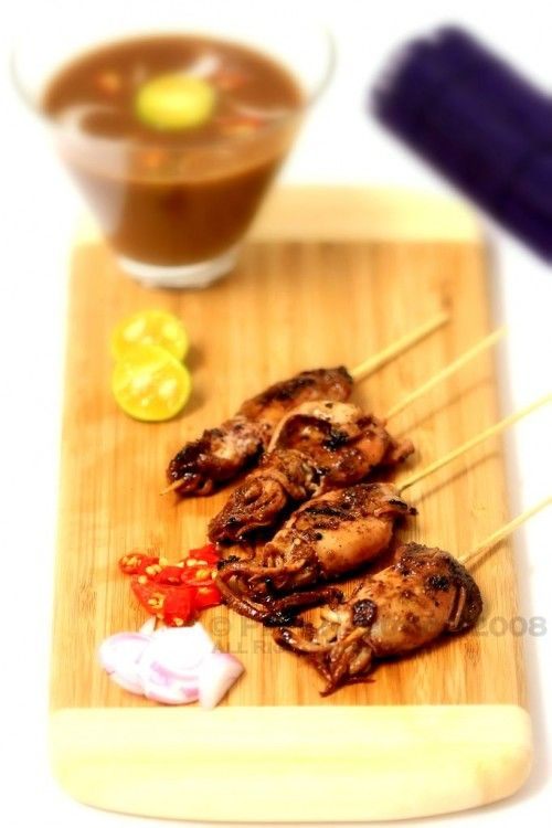 Squid Sate with Sweet Soy Sauce (Sate Cumi Kecap)