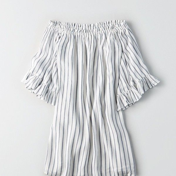 AE STRIPED EXAGGERATED BELL SLEEVE SHIFT DRESS ($50) ❤ liked on Polyvore featuring dresses, white, white dresses, off the shoulder bell sleeve dress, striped shift dress, off shoulder bell sleeve dress and white shift dresses