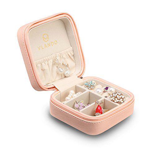 Vlando Small Faux Leather Travel Jewelry Box Organizer Di...