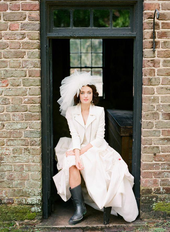 Edgy accessories add to a beautiful, classic dress   Dress: Carolina Herrera    Photo: Corbin Gurkin   Blog.theknot.com