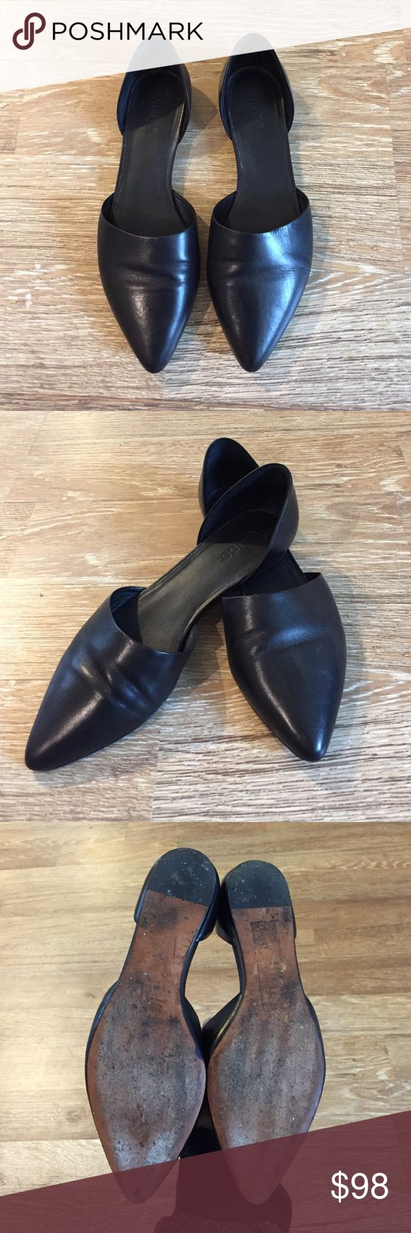 Vince d'Orsay Black Leather Flats Vince d'Orsay leather flats are super on trend! Easy to dress up or down. Vince Shoes Flats & Loafers