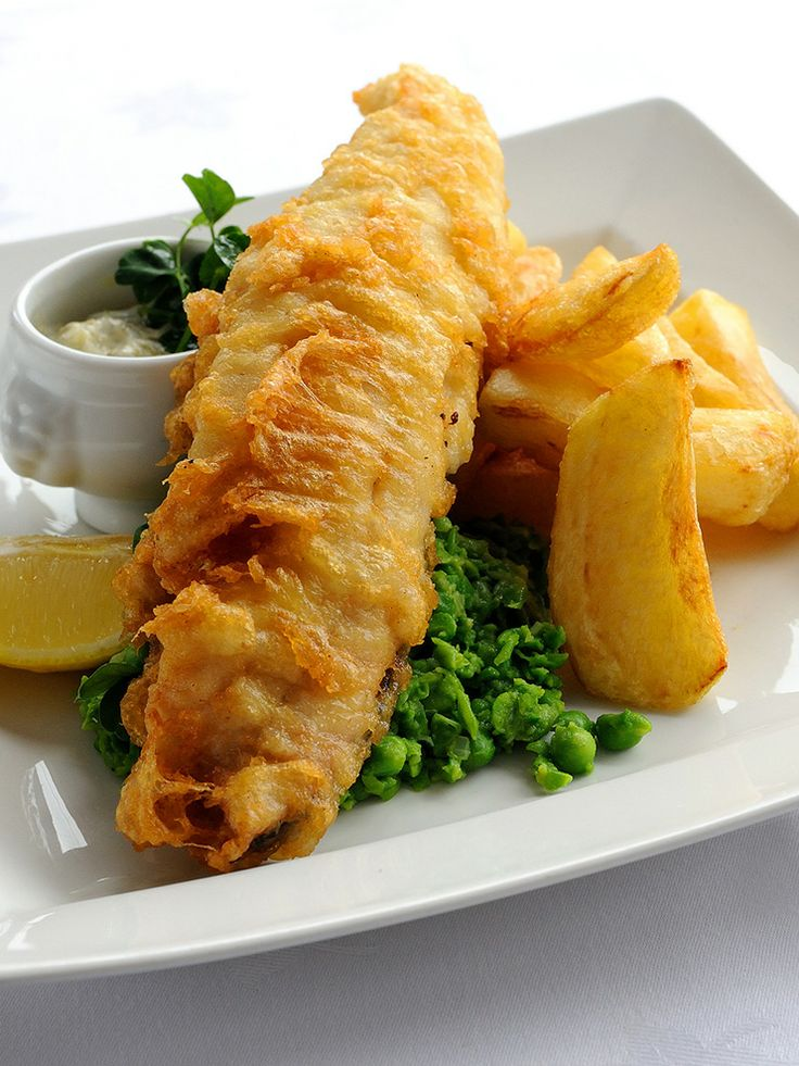 Traditional fish and chips - Josh Eggleton.  An excellent rendition of a classic British meal. Haddock is coated in a marvellous beer batter and served with tartare sauce, crushed peas and, of course, chunky potato chips.
