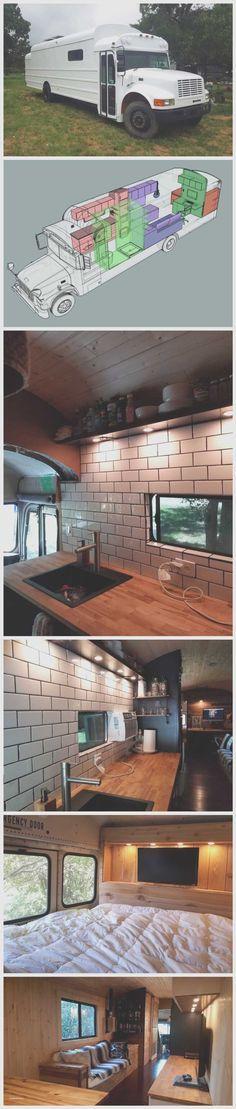 Skoolie Floor Plan Bus Conversion School Buses - Awesome Skoolie Floor Plan Bus Conversion School Buses, 2002 Short Bus Conversion Peewee Skoolie View to the Back