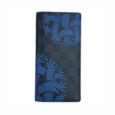 ルイヴィトンコピー N41677 財布 メンズ ファスナー長札 ダミエ・グラフィット ロープ LV ポルトフォイユ・ブラザ ブルー