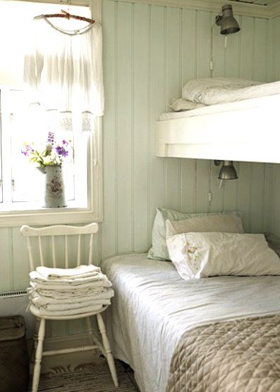 Bunk Bed- double on bottom, single on top with built-in lights. I love the painted wood paneling too :)  Cute guest room idea...