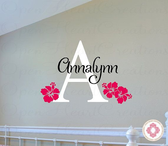 Flower Wall Decals with Initial and Name - Hibiscus Flowers Hawaiian Surf Beach Baby Nursery Room Decor Vinyl Wall Decals      [ITEM NO.