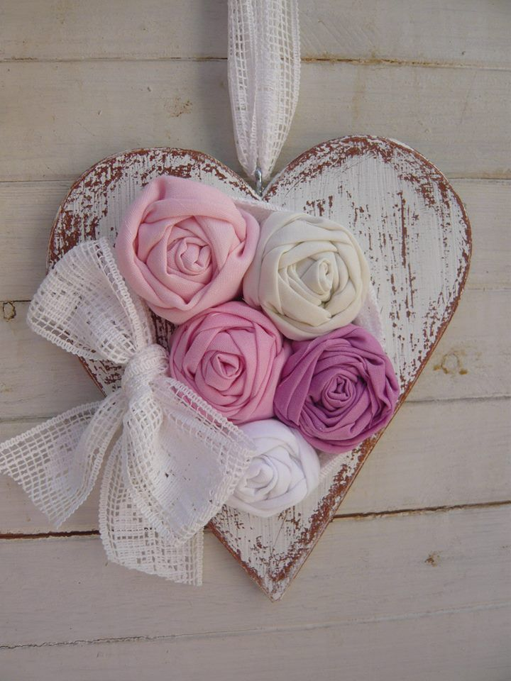 Wooden Heart and Fabric Roses