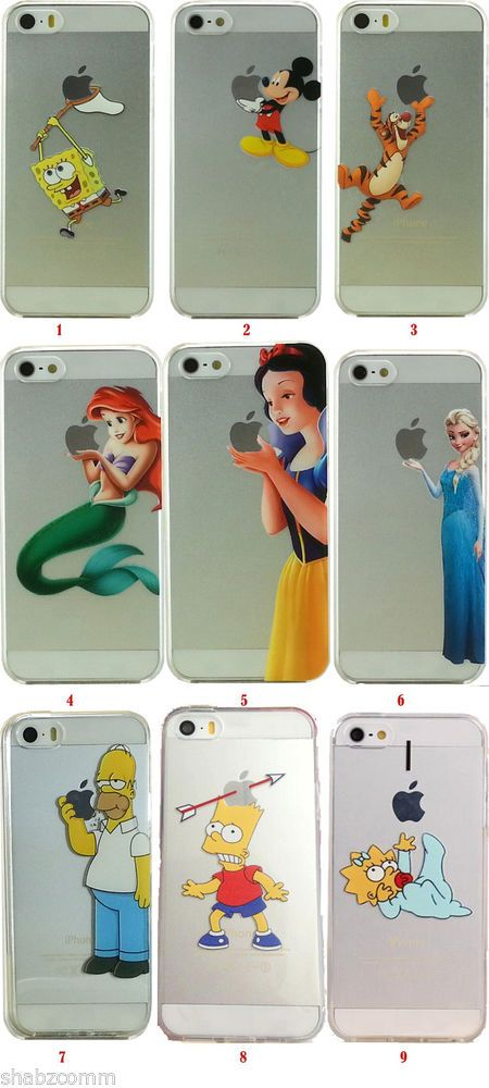 Cartoon Disney Frozen Elsa Snow white Mermaid Soft case For iphone 4 4s 5 5s 5c