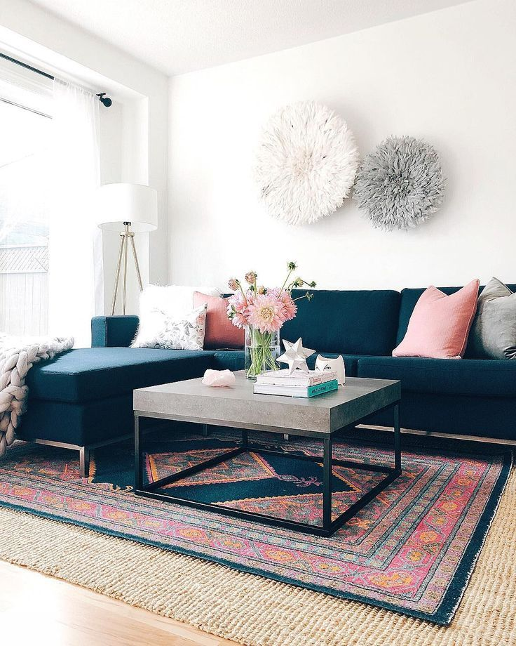 Christine Marie On Instagram Flowers Can Do Wonders They Brighten Up A Room And They Blue And Pink Living Room Navy Living Room Decor Navy Sofa Living Room