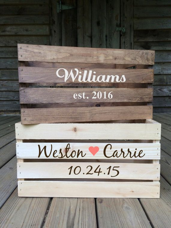 Rustic Wedding Card Box Personalized Wooden Chest Wood Crates