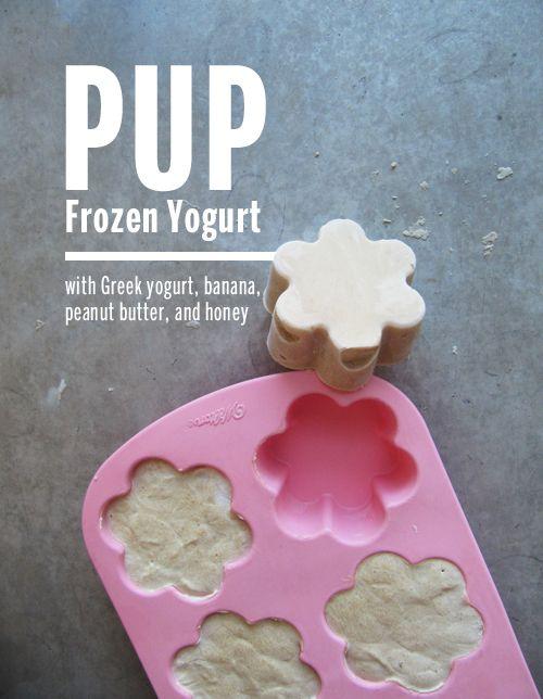 Pup Frozen Yogurt ˁ˚ᴥ˚ˀ 2 cups nonfat plain Greek yogurt, 1 medium banana, ⅓ cup natural peanut butter, 1 TBsp honey