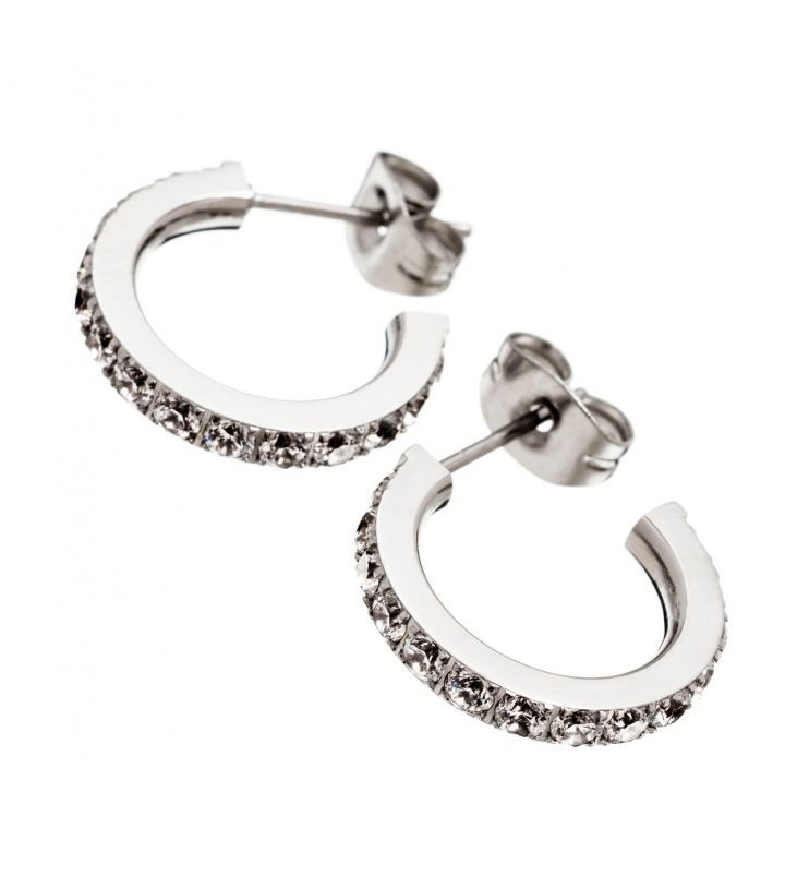 Glow earrings, stainless steel Featuring Cubic Zirconia gemstones  Width 2mm, diameter 15mm