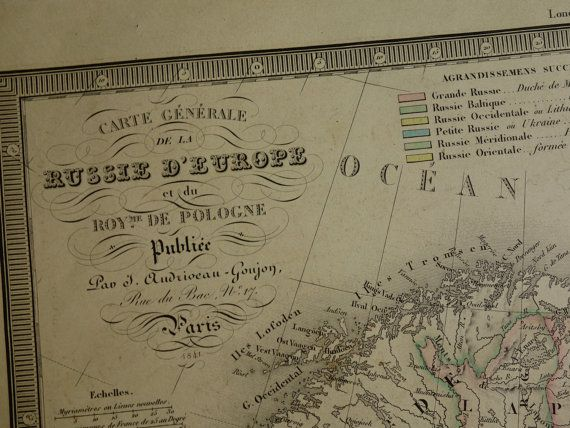 RUSSIA old map of Russia 1841 LARGE by DecorativePrints on Etsy