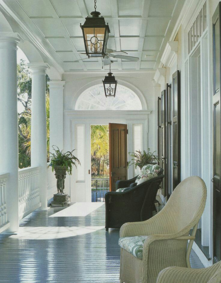 Typical charleston piazza note the ceiling traditionally for Southern homes with porches